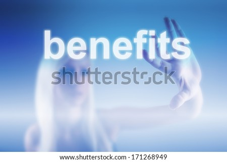 Manager pointing on benefits - business concept - stock photo