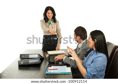 Manager pointing to business woman at meeting isolated on white background