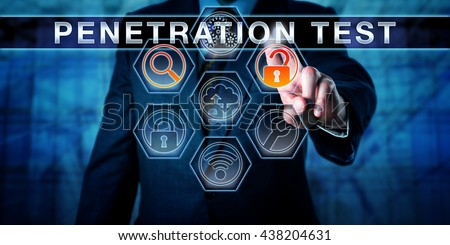 Manager pressing PENETRATION TEST on an interactive touch screen interface. Software application tools for scanning and access are highlighted. Computer security concept for pentest. Caucasian man. - stock photo