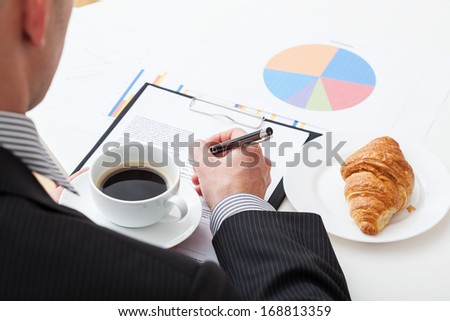 Manager's coffee and croissant during the work at big project