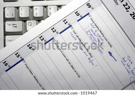 Manager's personal daily business schedule - stock photo