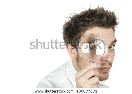 Manager search for business on white background - stock photo