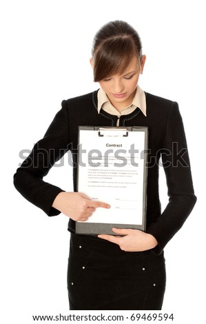 manager showing a features of contract for new workers - stock photo