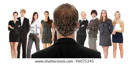 Manager talking with group of businesspeople, studio shoot. - stock photo