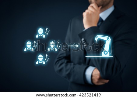 Manager think about automation - how to transform manufacturing from job-work to mass production. - stock photo