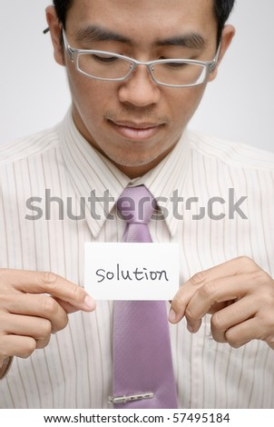Manager want solution and holding one card with words. - stock photo