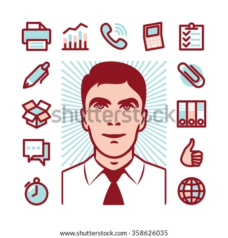 Manager with Fat Line Icons for web and mobile. Modern minimalistic flat design elements of career manager, office work, analyzing and calculating, time management and logistics - stock photo
