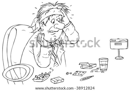 manager with headache from economic crisis - stock photo