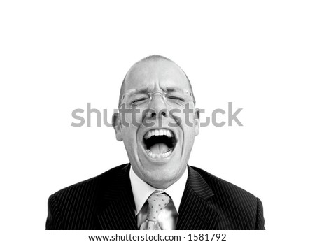 Manager with open mouth - stock photo