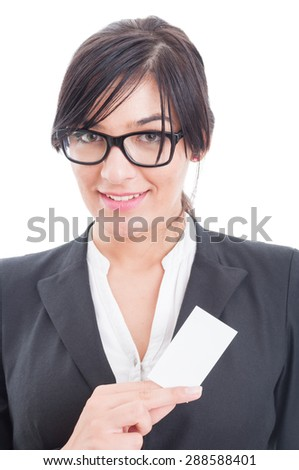 Manager woman holding a blank business card with copy space or copyspace - stock photo