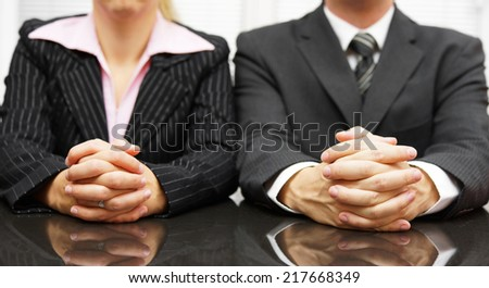 Managers are interviewing candidate for job - stock photo
