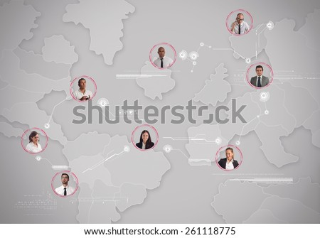 Managing a business team in the world - stock photo