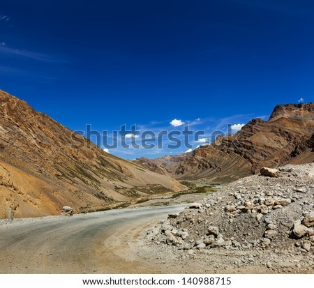Manali-Leh road to Ladakh in Indian Himalayas. Ladakh, India - stock photo