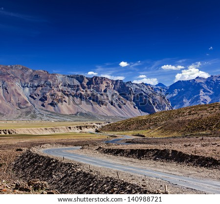 Manali-Leh road to Ladakh in Indian Himalayas near Baralacha-La pass. Himachal Pradesh, India - stock photo