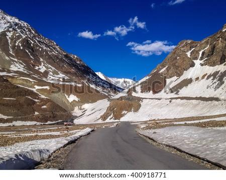 Manali - Sarchu camp - Leh, Ladakh highway road in India - stock photo