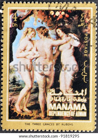 """MANAMA (AJMAN)- CIRCA 1972: A stamp printed in the Manama shows painting """"The three graces"""" by Peter Paul Rubens, detail, circa 1972 - stock photo"""