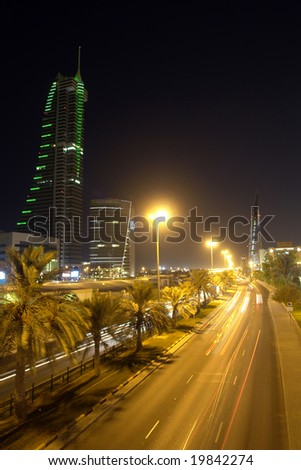 Manama Bahrain cityscape - night scene - stock photo