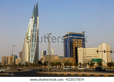 MANAMA, BAHRAIN- MAY 14: Bahrain World Trade Center and other high rise buildings in Manama City on May 14, 2016, Manama, Bahrain - stock photo