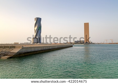 MANAMA, BAHRAIN - MAY 14, 2016: Beautiful view of the Seafront with The United Tower and the Four Seasons Hotel in the capital city. - stock photo