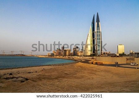 MANAMA, BAHRAIN - MAY 14, 2016: Beautiful view of the Seafront with the World Trade Center and other high rise buildings in the city. - stock photo