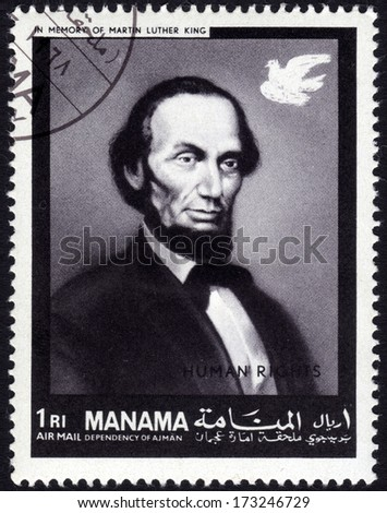 MANAMA - CA. 1969: Postage stamp from Manama showing the image of former US President Abraham Lincoln, who was murdered in 1865