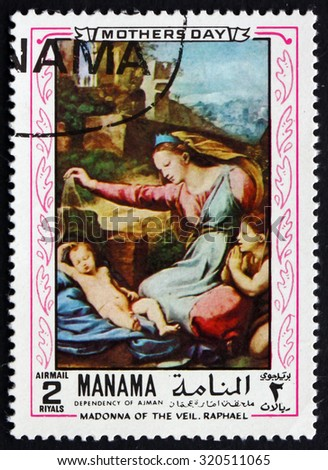 MANAMA - CIRCA 1970: a stamp printed in the Manama shows The Madonna of the Veil, Painting by Raphael Sanzio da Urbino, Italian Painter, Mothers Day, circa 1970