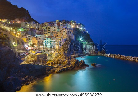 Manarola after sunset, Cinque Terre, Italy - stock photo