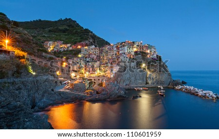 Manarola at twilight, Cinque Terre, Italy - stock photo