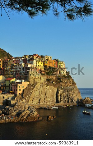Manarola (Cinque Terre, Italy) at sunset - stock photo