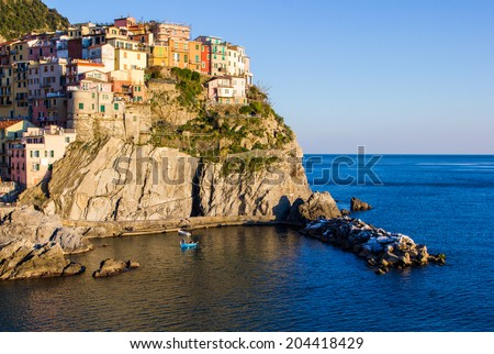 Manarola, Cinque Terre National Park at Sunset, Ligurian Coast, Italy - stock photo