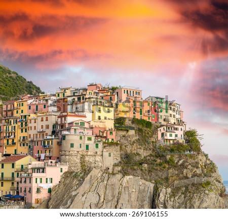 Manarola, Cinque Terre. Sunset over Five Lands, Italy. - stock photo
