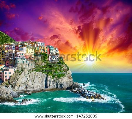 Manarola, Cinque Terre. Wonderful Coastal Colors in Spring Season - Italy. - stock photo