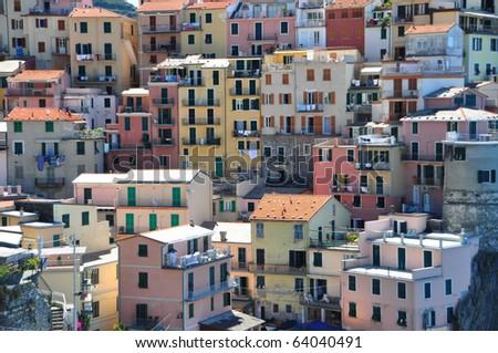 Manarola fishermen village in Cinque Terre, Italy - stock photo