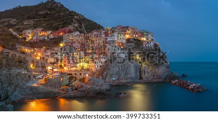 Manarola is one of the oldest and most beautiful towns in the Cinque Terre, Italy - stock photo