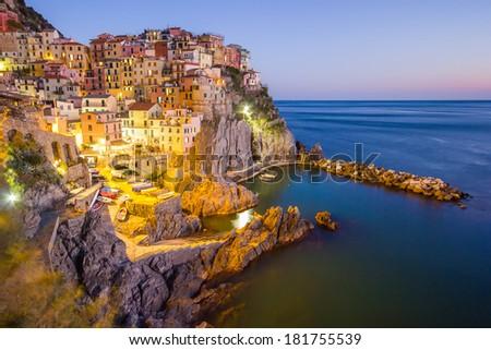 Manarola, Italy - Cinque Terre at sunset - stock photo