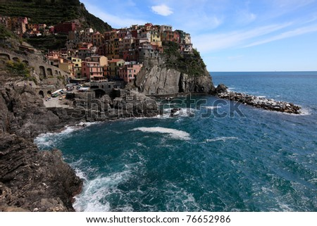 Manarola, one of the five hamlets found in Cinque terra, along the Ligurian Coast, Italy. - stock photo
