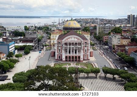 Manaus Brasil and Teatro Amazonas - stock photo