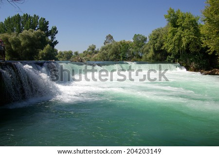 Manavgat Waterfall in Turkey in summer day - stock photo