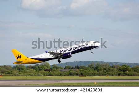 MANCHESTER AIRPORT - MAY 14th 2016: Monarch Airbus A321 taking off from Manchester Airport, UK May 14, 2016