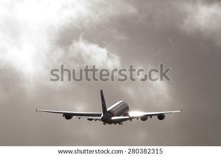 Manchester Airport, United Kingdom - February 23, 2015: Emirates A6-EOF Airbus A380 - 861 cn 171 moment after take off. - stock photo