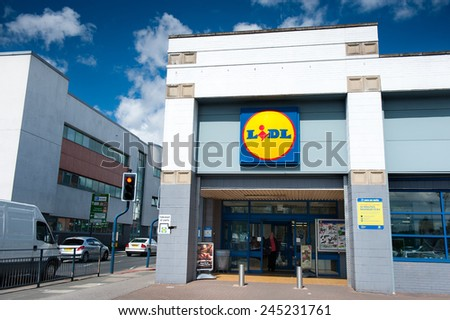 MANCHESTER-APR 30: Lidl Store on Apr. 30, 2013 in Manchester(Ashton Under Lyne), UK. Lidl is a German global discount supermarket chain, that operates over 10,000 stores across Europe. - stock photo