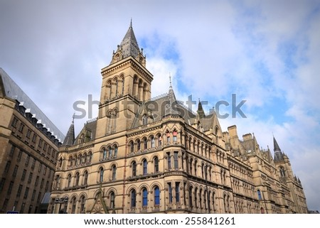 Manchester City Hall - city landmark in North West England (UK).