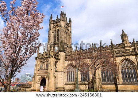 Manchester - city in North West England (UK). Anglican Cathedral. - stock photo
