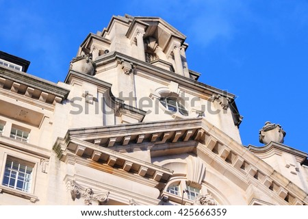 Manchester - city in North West England (UK). St. James Buildings, Grade II listed monument. Edwardian Baroque style landmark made of Portland stone. - stock photo