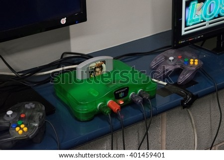 MANCHESTER, ENGLAND - APRIL 2, 2016: Nintendo 64 at the Manchester Anime and Gaming Convention - stock photo