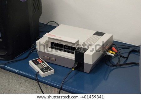 MANCHESTER, ENGLAND - APRIL 2, 2016: Nintendo Entertainment System at the Manchester Anime and Gaming Convention