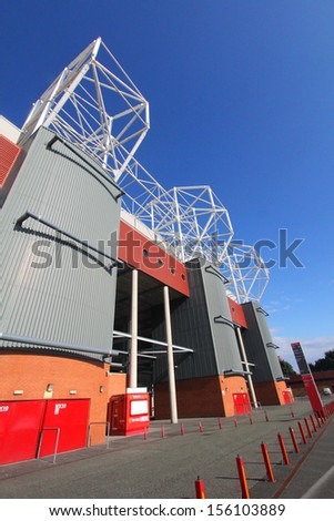 MANCHESTER, ENGLAND - AUGUST 21: Old Trafford stadium on August 21,2012 in Manchester, England. Old Trafford is home of Manchester United football club