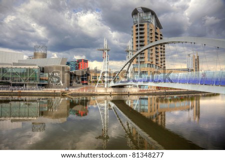 Manchester England city-scape at Salford Quays - stock photo