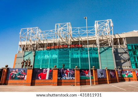 MANCHESTER, ENGLAND - MAY 29, 2016: Old Trafford stadium is home to Manchester United one of the wealthiest and most widely supported football teams in the world. - stock photo