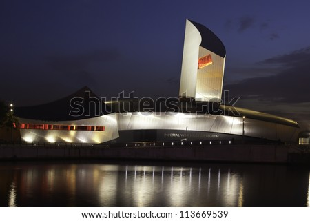 MANCHESTER, ENGLAND- SEPT 3: Imperial War Museum on Sept 3,2012 in Manchester, England. The museum is recognized as the leading authority on conflict and its impact from the World Wars to the present. - stock photo